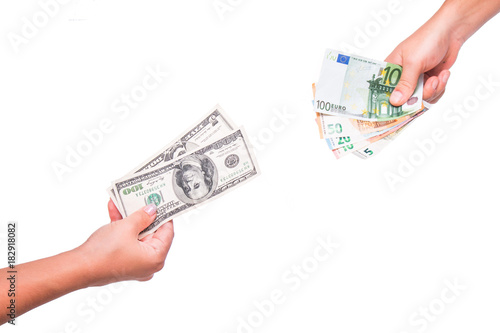 Hands Exchange Dollars For Euros People Currency
