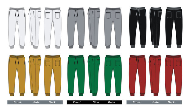 Set trousers pants colorful, vector images