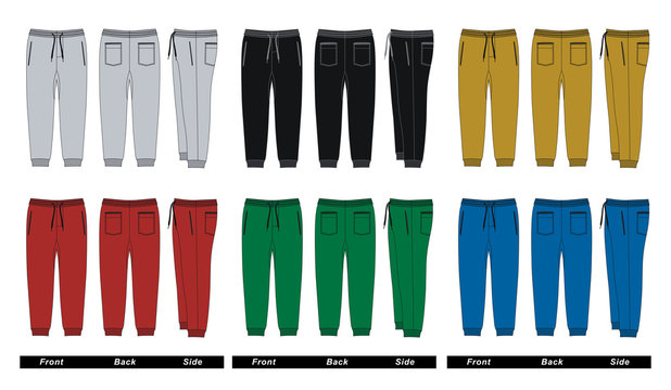 Set trousers pants front, back, side, colorful, vector images