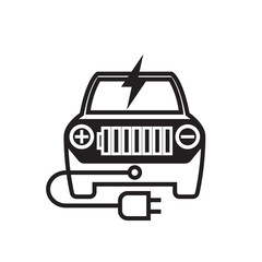 Icon Electric Car Flat style vector illustration.