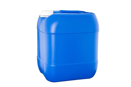 Blue plastic container isolated