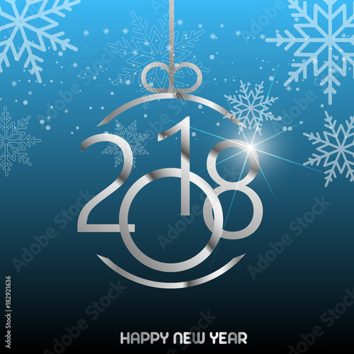 happy new year greeting card with shining silver text and snow on