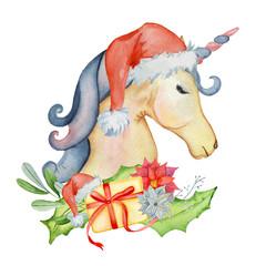 cute christmas unicorns watercolor set winter illustration - Christmas Unicorn