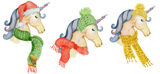 Cute Christmas unicorns watercolor set Winter illustration
