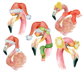 Christmas set with pink flamingo with winter decorations, watercolor illustration