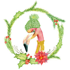 Christmas pink flamingo in green hat watercolor illustration
