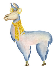 Christmas lama illustration with Santa hat and scarf Winter watercolor animals Cute kids illustration perfect for greeting or post cards, prints on t-shirts, phone cases