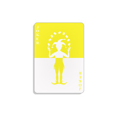 Playing card with Joker in yellow and white design