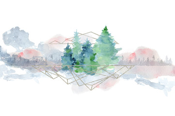 Watercolor abstract woddland, fir trees silhouette with ashes and splashes, winter background