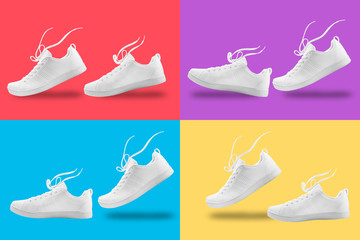 Pair of White sneaker four composition like walking and floating rope isolated on four color  background with clipping path