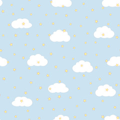 Sky with clouds and stars. Cute seamless pattern for children.