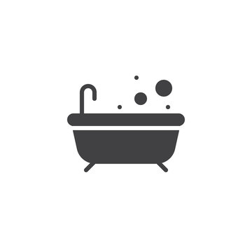 Bathtub icon vector, filled flat sign, solid pictogram isolated on white. Bath with bubble symbol, logo illustration.