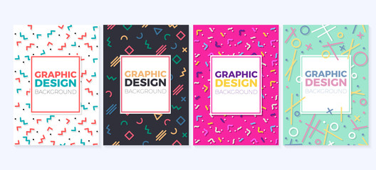 Set of graphic design trendy and geometric backgrounds in different colors. Can be used as covers, placards, posters, flyers, banners, business cards, greetings cards, brochures etc.