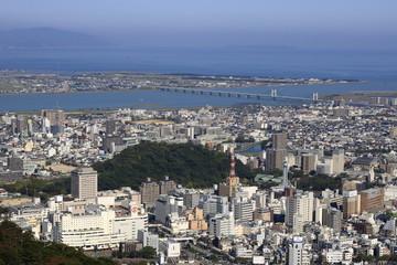 眉山山頂からの眺める徳島市