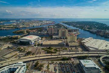 Aerial image Tampa FL Amalie Arena and Harbour Island