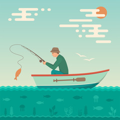 Vector illustration of a cartoon fisherman, man cath fish on fishing rod
