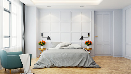 Vintage Modern  interior of  bed room, White bed  with wall lamp on  parguet flooring and white wall  ,3d rendering