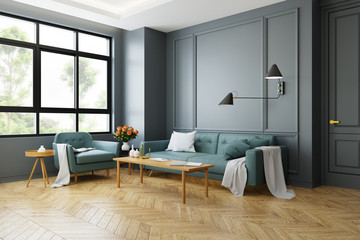 Vintage Modern  interior of living room, green sofa with wall lamp on  parguet flooring and dark gray wall  ,3d rendering