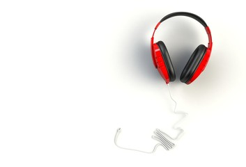 Red headphones on white background, Top view with copyspace for your text, 3D rendering
