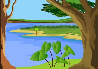 Nature landscape view, lake among hills, forest in horizon, vector illustration