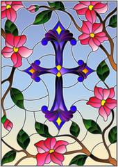 Stained glass illustration with a  purple Christian cross in the sky and pink flowers