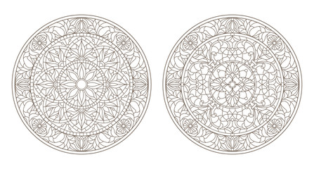 Set contour illustrations of stained glass, round stained glass floral, dark outline on a white background