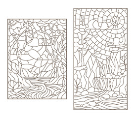 Set contour illustrations of stained glass in the stained glass style with scenery of wild nature, a mountain river and waterfall, a dark outline on a white background