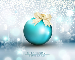 Vector illustration for Merry Christmas and Happy New Year. Greeting card with golden ball on a blue bokeh background.