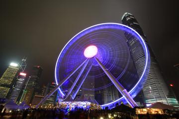 hong kong ferris wheel at night