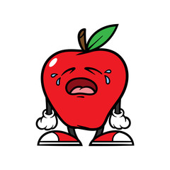 Cartoon Crying Apple Character