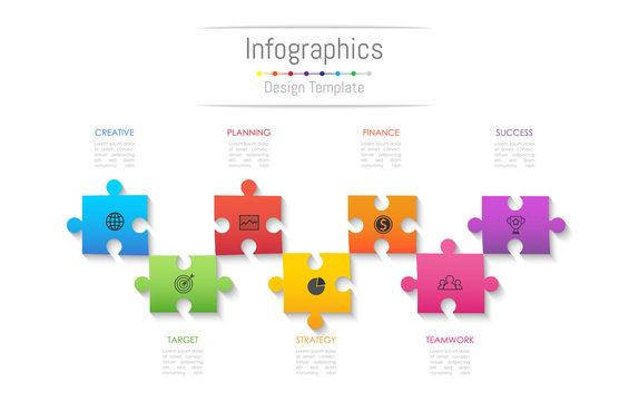 Infographic design elements for your business data with 7 options, parts, steps, timelines or processes. Jigsaw puzzle concept, Vector Illustration.