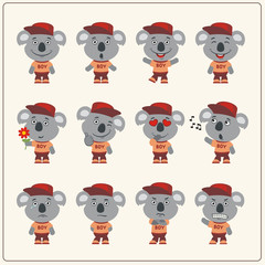 Collection of isolated koala bear in clothes and cap. Set of koala bear little boy in cartoon style.