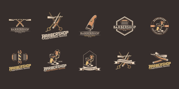 Barber shop vector logo set