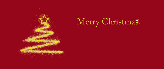 Christmas tree with star and flare on red background with the inscription Merry Christmas