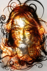 Goddess Woman in Cosmic space. Cosmic Space and lines background.