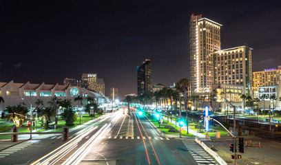 Harbor Drive Night time San Diego California Downtown City Skyline