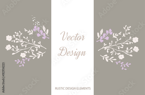 Violet And Brown Floral Elements Vector Poster With Rustic Flowers Greeting Card Soft