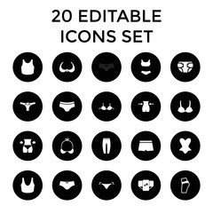 Underwear icons. set of 20 editable filled underwear icons
