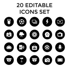 Camera icons. set of 20 editable filled camera icons