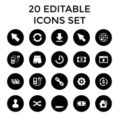 App icons. set of 20 editable filled app icons