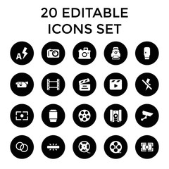 Film icons. set of 20 editable filled film icons