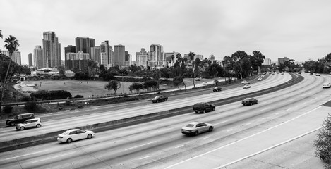 Cars Move I-5 Downtown San Diego California Skyline Transportation