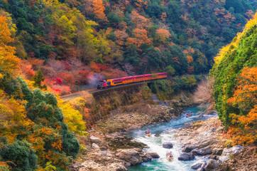 beautiful mountain view in autumn season with sagano scenic railway or romantic train on bridge and boat in the river in Arashiyama, Kyoyo, Japan, sotf focus
