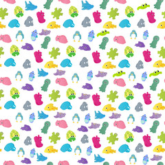 Seamless pattern with colorful sea creatures on a white background