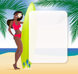 Summer sale advertisement poster with Afro-american girl and surfboard. Vector illustration.