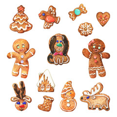 Watercolor Christmas set with gingerbread cookies on white background. Painting bakery collection in vintage style