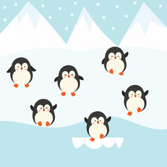 cute penguin vector set.