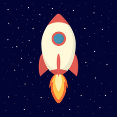 illustration with spaceship and stars