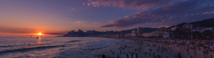 RIO DE JANEIRO, BRAZIL - IPANEMA BEACH JANUARY, 8 2017: Made famous by the song 'The Girl from Ipanema' is an iconic tourist destination in Brazil.