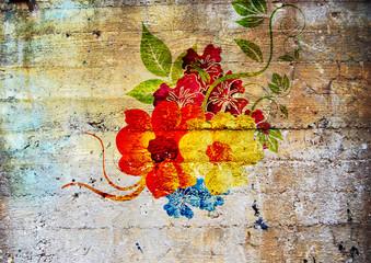 Graffiti. Fleurs psychédéliques.